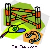 Vector Clipart image  of a Horse shoe with riding hat and