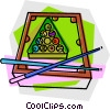 Vector Clip Art graphic  of a Billiard table with balls and