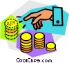 Hand with stacks of coins Vector Clipart image