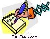 hand with a pen writing on paper Vector Clipart illustration