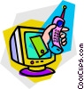 Vector Clip Art picture  of a cell phone and computer