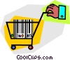 Hand with shopping cart and bar code Vector Clipart image