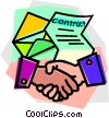 handshake after signing a contract Vector Clipart picture