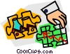 Vector Clip Art picture  of a Pieces of a Puzzle