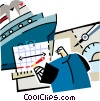 Vector Clip Art graphic  of a ship builder