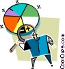 Vector Clip Art graphic  of a examining a pie chart