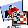 Vector Clip Art graphic  of a chess match