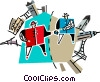Vector Clip Art graphic  of a business and industry