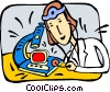 Vector Clip Art graphic  of a Computer Service and Repair