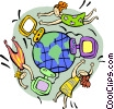 communication around the world Vector Clipart image