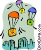 Vector Clip Art picture  of a Floppy disks with parachutes