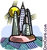 Vector Clip Art graphic  of a buildings on an island