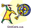 Vector Clip Art graphic  of a Woman throwing darts