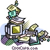 office desk over run with paperwork Vector Clip Art graphic