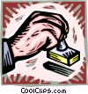 Vector Clip Art image  of a hand with a rubber stamp
