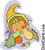 Cornucopia with fall harvest Vector Clipart illustration