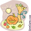 Vector Clip Art graphic  of a Jack o lantern with wheat