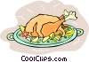 Roast turkey dinner Vector Clip Art image