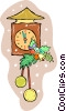 Coo coo clock with holly Vector Clipart illustration