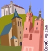 Wawel Castle, Church of Holy Cross, St Mary's Vector Clipart illustration