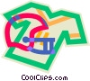 Vector Clip Art image  of a football helmet and jersey