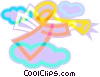 Vector Clipart graphic  of an angel blowing a trumpet