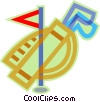 golf, golf clubs, golf bag Vector Clip Art picture