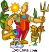Vector Clip Art graphic  of a gardener doing yard work