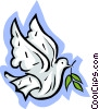 dove with an olive branch Vector Clipart illustration