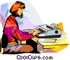 Vector Clip Art image  of a Receptionist typing letter