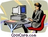 businesswoman working on a computer Vector Clip Art graphic