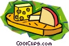 Sliced cheese on cutting board Vector Clip Art graphic