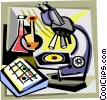 microscope and test tubes Vector Clipart image