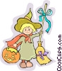 Little in witches costume for Halloween Vector Clipart illustration