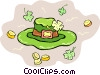 Vector Clip Art image  of a Leprechauns hat with gold