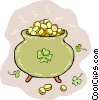 Pot of gold coins and shamrocks Vector Clipart illustration
