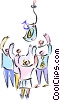 Vector Clipart picture  of a business people reaching for