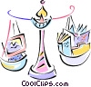 Vector Clip Art picture  of a balancing technology over old