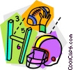 Vector Clip Art graphic  of a Helmets and Pads