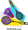 Vector Clipart graphic  of a Badminton rackets and birdie
