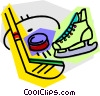 Hockey stick with skates and puck Vector Clipart graphic