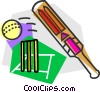 Vector Clip Art graphic  of a cricket ball and bat