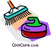 Curling Rocks & Brooms Vector Clipart illustration