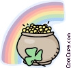 Pot of gold and rainbow Vector Clipart illustration