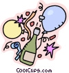 Bottle of champagne with balloons, celebration Vector Clip Art graphic
