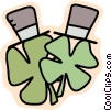 St. Patrick's day hats and shamrocks Vector Clipart image