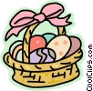 Vector Clipart illustration  of a basket of Easter eggs