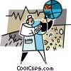 Vector Clipart picture  of a doctor checking the health of
