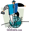 Vector Clipart image  of a businessman riding a globe