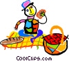 Vector Clip Art graphic  of a picnic